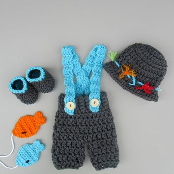 Crochet Baby Fisherman Outfit Charcoal Newborn Photo Prop