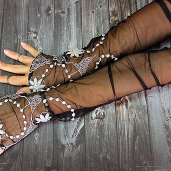 Black extra long gloves, steampunk glove, party gloves, opera lace fingerless gloves, cosplay fantasy lolita sexy gloves