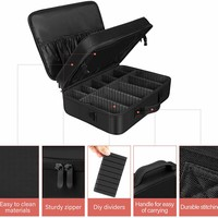 """Solofish 17.1"""" Makeup Train Case, Triple Layer Professional Cosmetic and Beauty Tools Storage Box, 17.1"""" Extra Large Make Up Brush And Beauty Artist Organizer with Removable HD Mirror"""