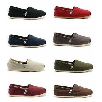 New Authentic TOMS Women's CLASSIC Solid Canvas Slip on flats shoes US Sizes