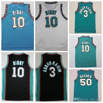 Old Vancouver 50 Bryant Reeves Jersey Men Basketball 3 Shareef Abdur-Rahim Abdur Rahim 10 Michael Mike Bibby Jerseys Throwback Green Black
