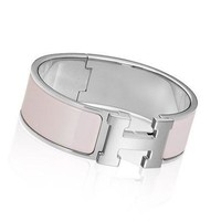 NEW / AUTHENTIC Hermes H Bangle In Nimph Pink Enamel / Silver Trim (PM Size)
