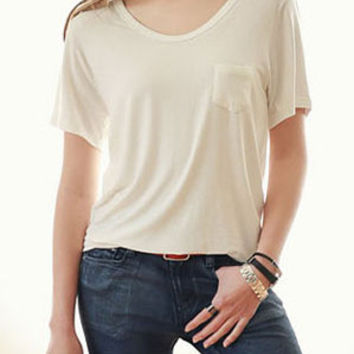 White V-Neckline Short Sleeve Loose Fitting Shirt