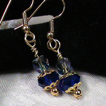 Saphire blue abacus iris faceted glass bead dangle drop earrings
