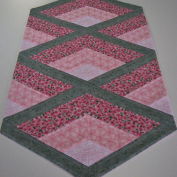 Quilted Table Runner , Cottage Chic Shabby Table Runner , Pink and Sage Green Floral , Lace Inserts