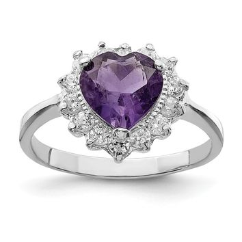925 Sterling Silver Rhodium-plated Amethyst and Cubic Zirconia Heart Ring
