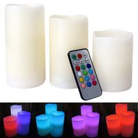 Evelots® Flameless Color Changing LED Candle Lights W/ Remote Control, Set Of 3