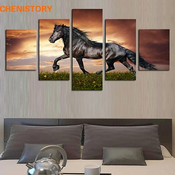 Unframed 5 Panel Walking Horse Large HD Printed Painting Modern Animal Picture Cuadros Landscape For Living Room Canvas Wall Art
