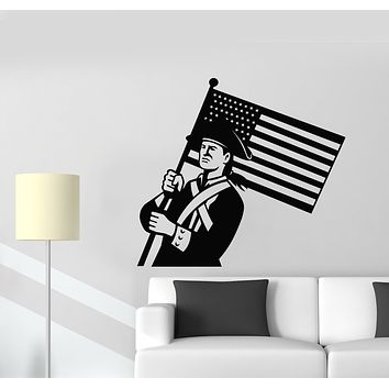 Vinyl Wall Decal Retro Soldier American Flag Military Patriotic Interior Stickers Mural (g1827)