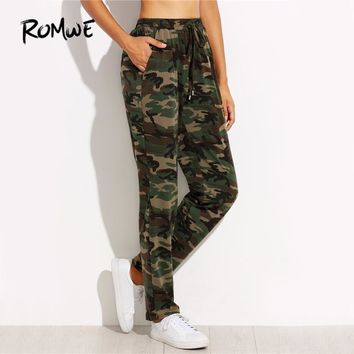 Olive Green Jersey Pants Women Drawstring Mid Waist Casual Sweatpants Autumn Fashion Tapered Pockets Long Pants