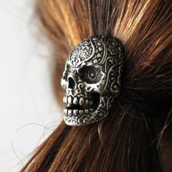 $55.00 Sugar Skull Ponytail holder in Oxidized Silver Tone White by mrd74