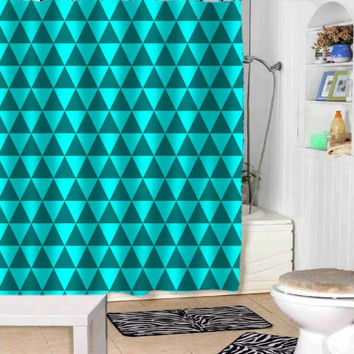 blue triangles shower curtains adorabel bathroom and heppy shower.