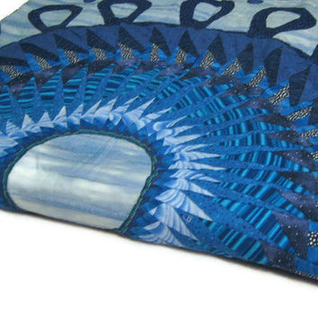 Quilt  Contemporary Geometric in Blues  Dreaming of Swirls Unique  Ready to Ship Warm Gift OOAK One of a Kind Spiral Statement