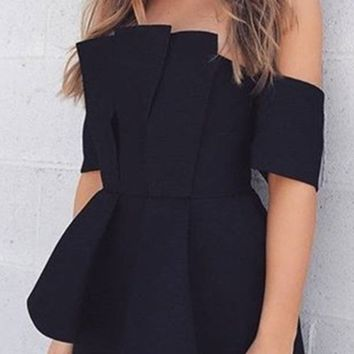 Do You Mind Black Short Sleeve Off The Shoulder Pleated Asymmetric Blouse Top