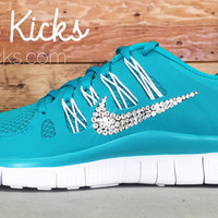 Women's Blinged Out Nike Free 5.0+ Running Shoes By Glitter Kicks - Hand Customized With Swarovski Crystal Rhinestones - Turquoise