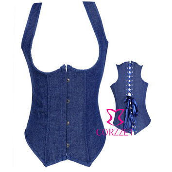 "Blue ""Denim Dream""  Underbust Bustier Full Lace-Up Back Corset"