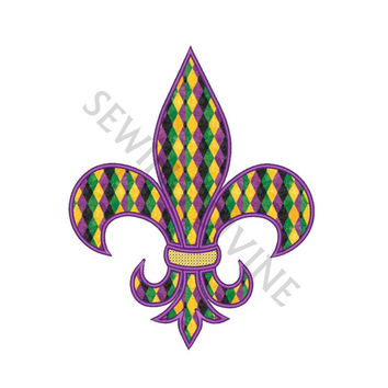 FLEUR De Lis APPLIQUE Instant Download 4x4 5x7 6x10 with Cross Stitch