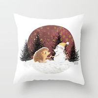 Winter Woodland - Hedgehog Bae Throw Pillow by marisahopkins