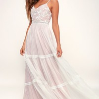 Elenora White Embroidered Maxi Dress