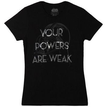 Star Wars Your Powers Are Weak Licensed Women's Junior T-Shirt - Black - L