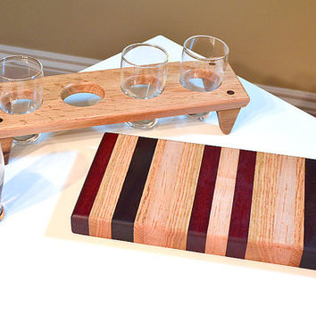 Handmade Wood Mini Brew Beer Sampler and Cutting Board 4 - The Mix and the Mingle - Bloodwood & Black Walnut