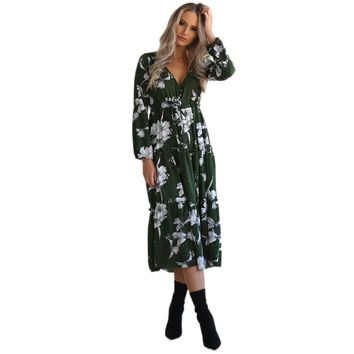 Womens Ladies 2017 New Arrival Autumn Dress Boho Dress Printed V Neck Floral Casual Beach Party Mid-Calf Dress