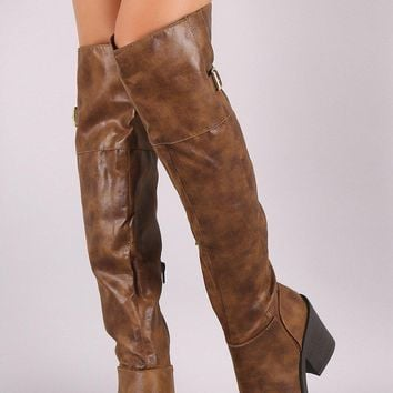 Qupid Distressed Buckled Western Over-The-Knee Boots
