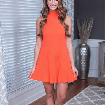 Orange Sleeveless Back Zipper Flounced Dress