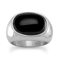 Stainless Steel and Black Onyx Ring