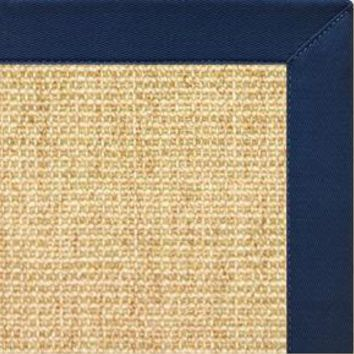 Sand Sisal Rug with Navy Blue Cotton Border