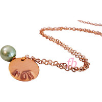 Mom Necklace Gold Filled Necklace Hand Stamped Family Daughter Necklace Murano Glass Pearl