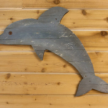 "Cute Dolphin Wall Art - 33"" long - Looking for Rustic Dolphin wall decor - great for any beach house, ocean decor, or nautical theme"