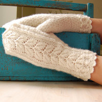 Knit lace mittens, white, pure wool, hand knitted winter accessories, for women