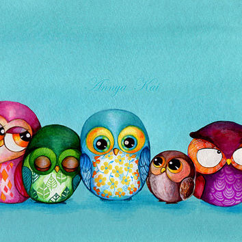 HUGE SALE 40% OFF - Fabric Owl Family - Large Format Giclee Print - Modern Owl Decor Colorful Turquoise Baby Blue Owl Nursery Kids Wall Art