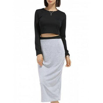 Chic Round Neck Long Sleeve Solid Color Crop Top + Spliced Skirt Women's Twinset