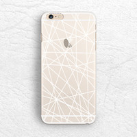 White outline Abstract matte transparent phone case for iPhone 6/6s, Sony z4, HTC one M9, LG G4, Samsung S6, Moto X 2nd gen soft case -P59