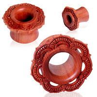Ornate Organic Wood Flora Eyelet Tunnel Plug