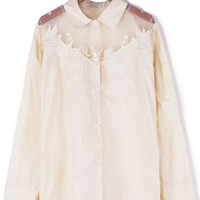 Embroidered Semi-sheer Shoulder Shirt - OASAP.com