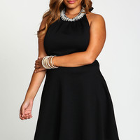 Plus Size Bejeweled High Neck Skater Dress