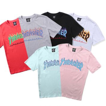 Thrasher Trending Casual Women Men Short Sleeve Print Letter Tee Top Blue G