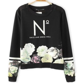 Women's Vintage Embroidered Rose Alphabet Pullover Sweater Long Sleeve Black