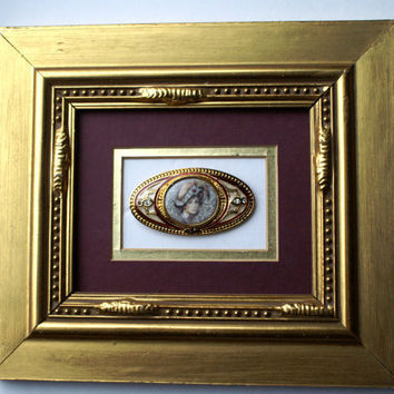 Shadowbox Jewelry Wall Art, Upcycled Vintage Costume Cameo Brooch in Recycled Gold Frame