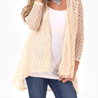 Cream Crochet Maternity Cardigan