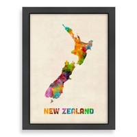 Amiercanflat Art Pause New Zealand Colored Map Wall Art