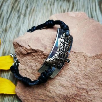 Leather Silver & Gold Cowboy Boot Bracelet