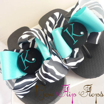 Zebra and Hot Pink Bow Initial Flip Flops Personalized Monogrammed Ribbon for Ladies and Girls