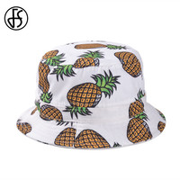 Fashion Ladies Summer Hat Foldable White Pink Pineapple Printed Beach Sun Chapeu Bucket Hats Women Men Sun Protection Caps