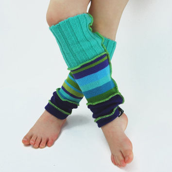 Leg Warmers for Kids in Aqua Blue Green and Purple - Recycled Sweaters - Eco Friendly