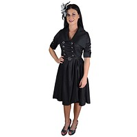 Gothic Steampunk Black Belted Military Style Swing Dress