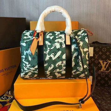PEAP LV Bags Satchel Closure Buckle Leather Green 30X21X17(CM)